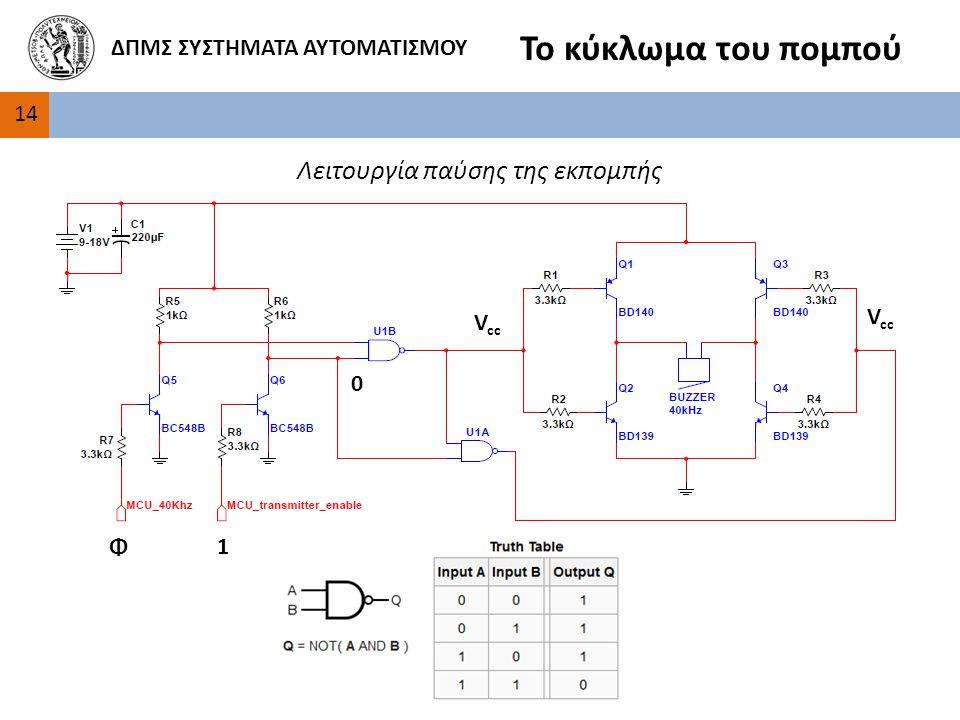 1 1414 ΔΠΜΣ ΣΥΣΤΗΜΑΤΑ ΑΥΤΟΜΑΤΙΣΜΟΥ Το κύκλωμα του πομπού 0 V cc Φ Λειτουργία παύσης της εκπομπής