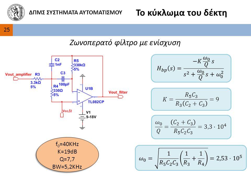 2525 ΔΠΜΣ ΣΥΣΤΗΜΑΤΑ ΑΥΤΟΜΑΤΙΣΜΟΥ Το κύκλωμα του δέκτη Ζωνοπερατό φίλτρο με ενίσχυση f 0 =40KHz Κ=19dB Q=7,7 BW=5,2KHz