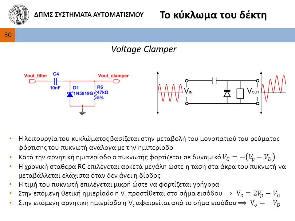 30 ΔΠΜΣ ΣΥΣΤΗΜΑΤΑ ΑΥΤΟΜΑΤΙΣΜΟΥ Το κύκλωμα του δέκτη Voltage Clamper