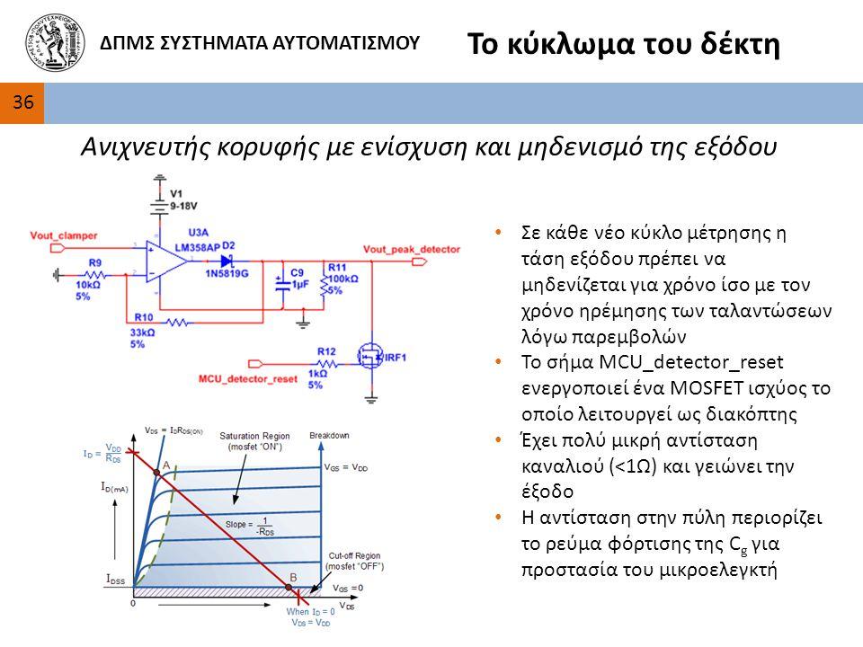 36 ΔΠΜΣ ΣΥΣΤΗΜΑΤΑ ΑΥΤΟΜΑΤΙΣΜΟΥ Το κύκλωμα του δέκτη Ανιχνευτής κορυφής με ενίσχυση και μηδενισμό της εξόδου Σε κάθε νέο κύκλο μέτρησης η τάση εξόδου πρέπει να μηδενίζεται για χρόνο ίσο με τον χρόνο ηρέμησης των ταλαντώσεων λόγω παρεμβολών Το σήμα MCU_detector_reset ενεργοποιεί ένα MOSFET ισχύος το οποίο λειτουργεί ως διακόπτης Έχει πολύ μικρή αντίσταση καναλιού (<1Ω) και γειώνει την έξοδο Η αντίσταση στην πύλη περιορίζει το ρεύμα φόρτισης της C g για προστασία του μικροελεγκτή