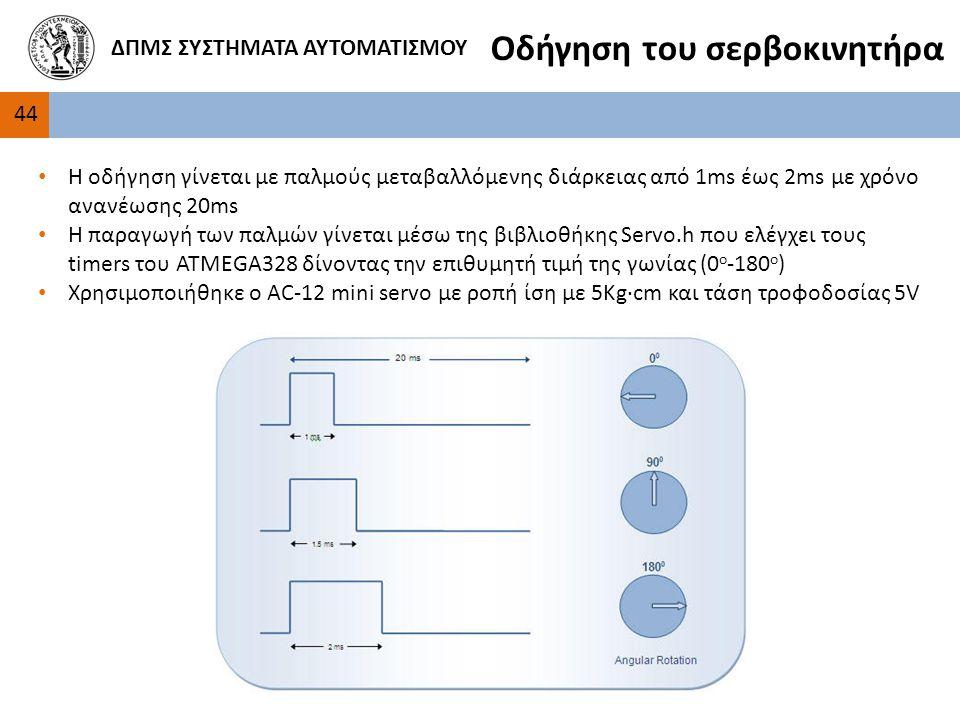4 ΔΠΜΣ ΣΥΣΤΗΜΑΤΑ ΑΥΤΟΜΑΤΙΣΜΟΥ Οδήγηση του σερβοκινητήρα Η οδήγηση γίνεται με παλμούς μεταβαλλόμενης διάρκειας από 1ms έως 2ms με χρόνο ανανέωσης 20ms Η παραγωγή των παλμών γίνεται μέσω της βιβλιοθήκης Servo.h που ελέγχει τους timers του ATMEGA328 δίνοντας την επιθυμητή τιμή της γωνίας (0 ο -180 ο ) Χρησιμοποιήθηκε ο AC-12 mini servo με ροπή ίση με 5Kg∙cm και τάση τροφοδοσίας 5V