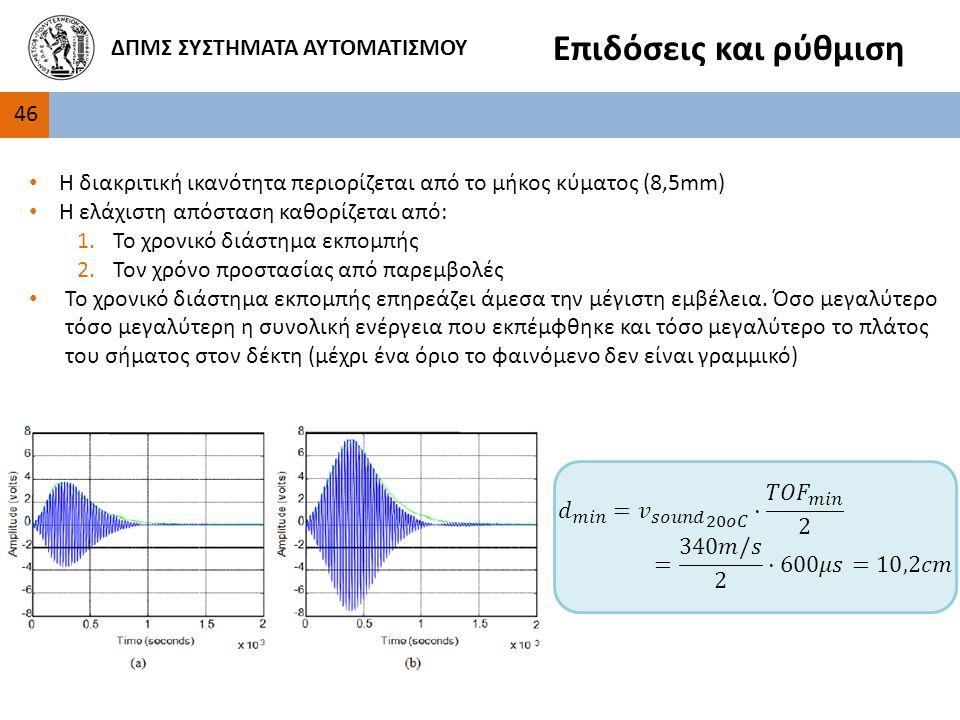 4646 ΔΠΜΣ ΣΥΣΤΗΜΑΤΑ ΑΥΤΟΜΑΤΙΣΜΟΥ Επιδόσεις και ρύθμιση Η διακριτική ικανότητα περιορίζεται από το μήκος κύματος (8,5mm) Η ελάχιστη απόσταση καθορίζεται από: 1.Το χρονικό διάστημα εκπομπής 2.Τον χρόνο προστασίας από παρεμβολές Το χρονικό διάστημα εκπομπής επηρεάζει άμεσα την μέγιστη εμβέλεια.
