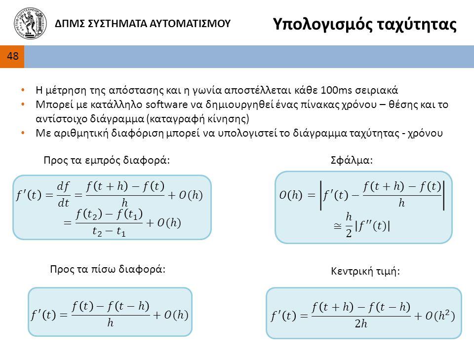 48 ΔΠΜΣ ΣΥΣΤΗΜΑΤΑ ΑΥΤΟΜΑΤΙΣΜΟΥ Υπολογισμός ταχύτητας Η μέτρηση της απόστασης και η γωνία αποστέλλεται κάθε 100ms σειριακά Μπορεί με κατάλληλο software να δημιουργηθεί ένας πίνακας χρόνου – θέσης και το αντίστοιχο διάγραμμα (καταγραφή κίνησης) Με αριθμητική διαφόριση μπορεί να υπολογιστεί το διάγραμμα ταχύτητας - χρόνου Προς τα εμπρός διαφορά: Προς τα πίσω διαφορά: Κεντρική τιμή: Σφάλμα: