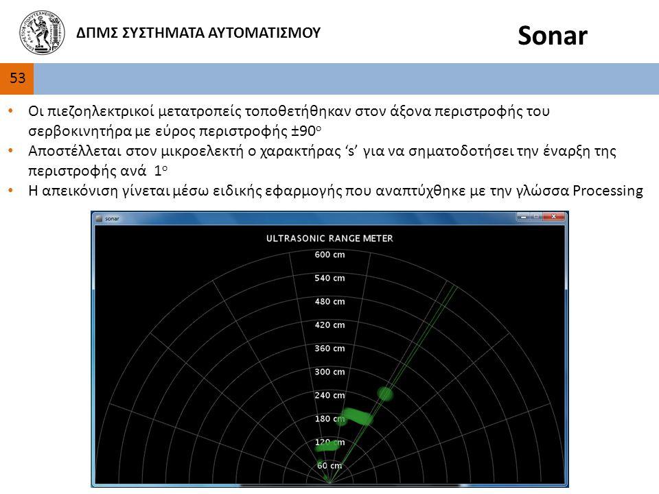 53 ΔΠΜΣ ΣΥΣΤΗΜΑΤΑ ΑΥΤΟΜΑΤΙΣΜΟΥ Sonar Οι πιεζοηλεκτρικοί μετατροπείς τοποθετήθηκαν στον άξονα περιστροφής του σερβοκινητήρα με εύρος περιστροφής ±90 ο Αποστέλλεται στον μικροελεκτή ο χαρακτήρας 's' για να σηματοδοτήσει την έναρξη της περιστροφής ανά 1 ο Η απεικόνιση γίνεται μέσω ειδικής εφαρμογής που αναπτύχθηκε με την γλώσσα Processing