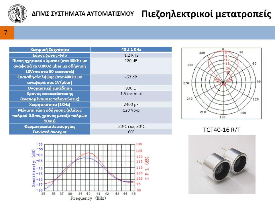 7 ΔΠΜΣ ΣΥΣΤΗΜΑΤΑ ΑΥΤΟΜΑΤΙΣΜΟΥ Πιεζοηλεκτρικοί μετατροπείς Κεντρική Συχνότητα40 ± 1 KHz Εύρος ζώνης -6db1.2 KHz Πίεση ηχητικού κύματος (στα 40KHz με αναφορά τα 0.0002 μbar με οδήγηση 10Vrms στα 30 εκατοστά) 120 dB Ευαισθησία λήψης (στα 40ΚHz με αναφορά στα 1V/μbar) -63 dB Ονομαστική εμπέδηση900 Ω Χρόνος αποκατάστασης (εναπομένουσες ταλαντώσεις) 1.5 ms max Χωρητικότητα (1KHz)2400 pF Μέγιστη τάση οδήγησης (πλάτος παλμού 0.5ms, χρόνος μεταξύ παλμών 50ms) 120 Vp-p Θερμοκρασία λειτουργίας-30 ο C έως 80 o C Γωνιακό άνοιγμα60 ο TCT40-16 R/T