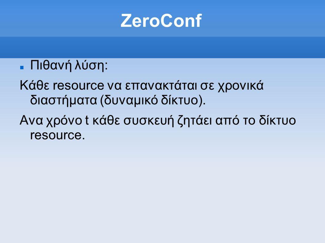 ZeroConf Πιθανή λύση: Κάθε resource να επανακτάται σε χρονικά διαστήματα (δυναμικό δίκτυο).