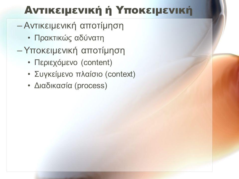 Αντικειμενική ή Υποκειμενική –Αντικειμενική αποτίμηση Πρακτικώς αδύνατη –Υποκειμενική αποτίμηση Περιεχόμενο (content) Συγκείμενο πλαίσιο (context) Διαδικασία (process)