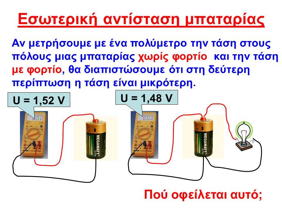 Εσωτερική αντίσταση μπαταρίας Η ίδια η μπαταρία μέσα της έχει μια αντίσταση που οφείλεται στην αντίσταση του ηλεκτρολύτη και των ηλεκτροδίων της.