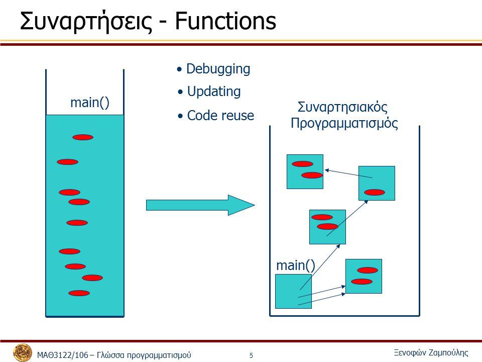 ΜΑΘ3122/106 – Γλώσσα προγραμματισμού Ξενοφών Ζαμπούλης 5 Συναρτήσεις - Functions main() Debugging Updating Code reuse Συναρτησιακός Προγραμματισμός