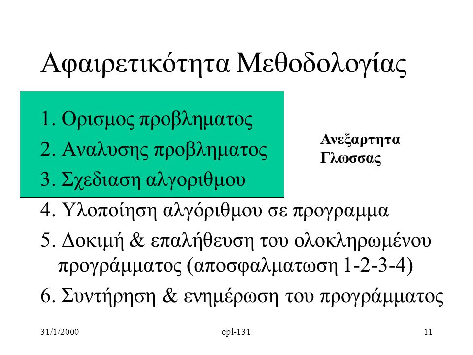 31/1/2000epl-13111 Αφαιρετικότητα Μεθοδολογίας 1. Ορισμος προβληματος 2. Αναλυσης προβληματος 3. Σχεδιαση αλγοριθμου 4. Υλοποίηση αλγόριθμου σε προγρα