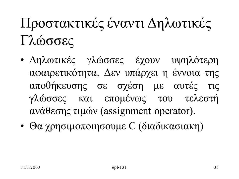 31/1/2000epl-13135 Προστακτικές έναντι Δηλωτικές Γλώσσες Δηλωτικές γλώσσες έχουν υψηλότερη αφαιρετικότητα. Δεν υπάρχει η έννοια της αποθήκευσης σε σχέ
