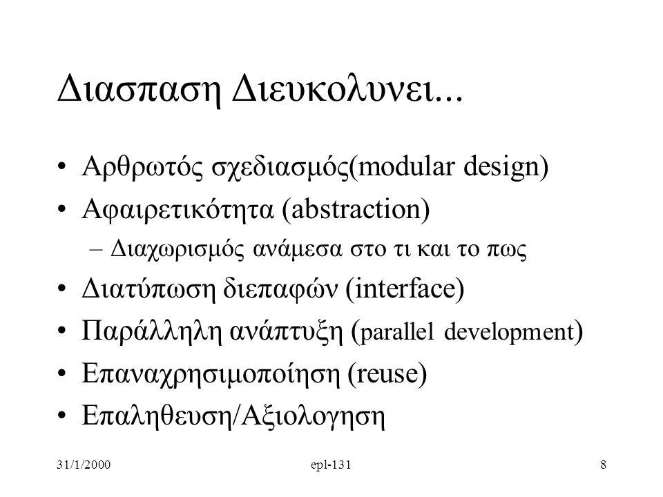 31/1/2000epl-1318 Διασπαση Διευκολυνει... Aρθρωτός σχεδιασμός(modular design) Αφαιρετικότητα (abstraction) –Διαχωρισμός ανάμεσα στο τι και το πως Διατ