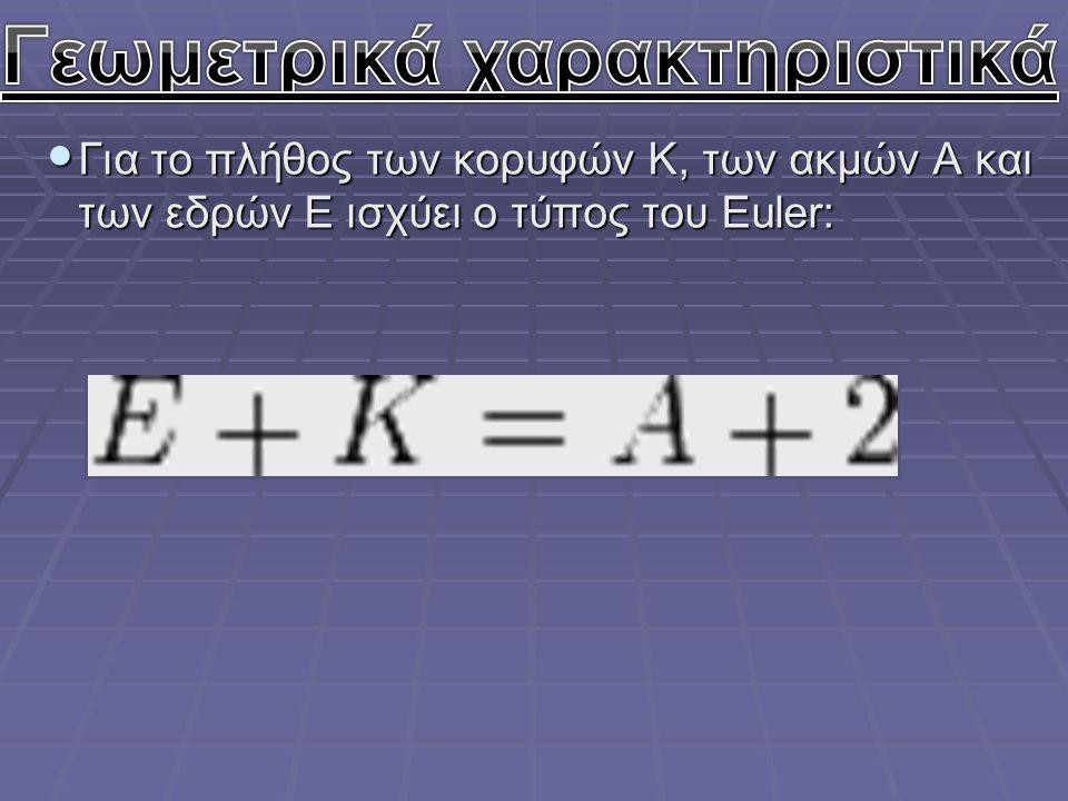 Για το πλήθος των κορυφών K, των ακμών A και των εδρών E ισχύει ο τύπος του Euler: Για το πλήθος των κορυφών K, των ακμών A και των εδρών E ισχύει ο τ