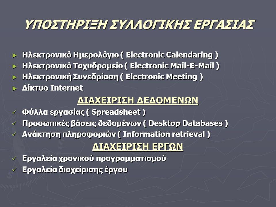 ΥΠΟΣΤΗΡΙΞΗ ΣΥΛΛΟΓΙΚΗΣ ΕΡΓΑΣΙΑΣ ► Ηλεκτρονικό Ημερολόγιο ( Electronic Calendaring ) ► Ηλεκτρονικό Ταχυδρομείο ( Electronic Mail-E-Mail ) ► Ηλεκτρονική