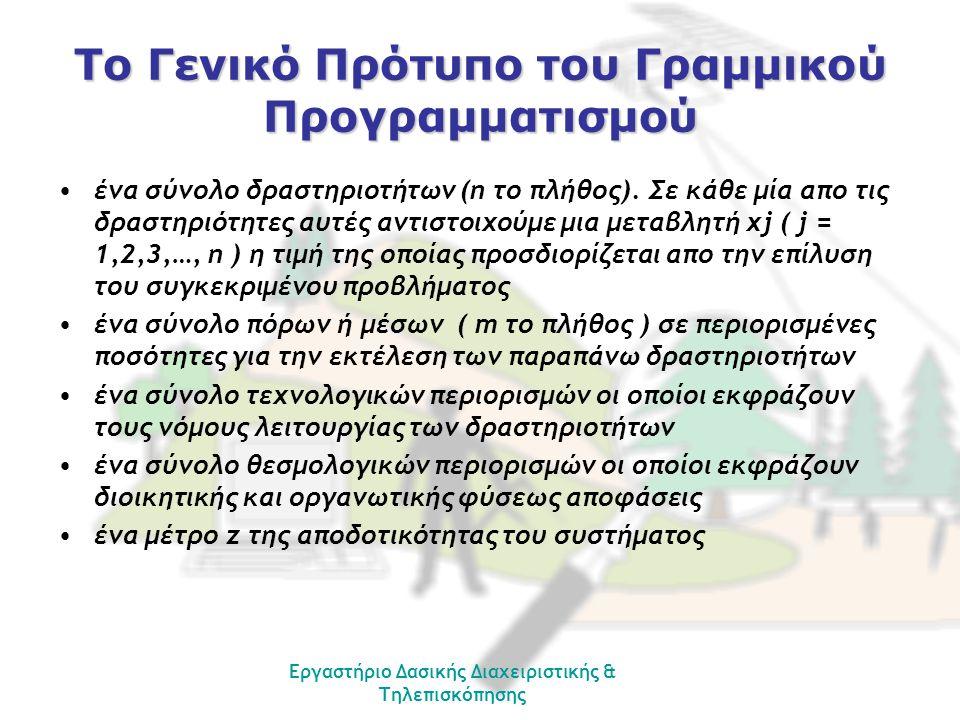 Εργαστήριο Δασικής Διαχειριστικής & Τηλεπισκόπησης Το Γενικό Πρότυπο του Γραμμικού Προγραμματισμού ένα σύνολο δραστηριοτήτων (n το πλήθος).