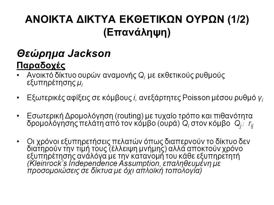 ΑΝΟΙΚΤΑ ΔΙΚΤΥΑ ΕΚΘΕΤΙΚΩΝ ΟΥΡΩΝ (1/2) (Επανάληψη) Θεώρημα Jackson Παραδοχές Ανοικτό δίκτυο ουρών αναμονής Q i με εκθετικούς ρυθμούς εξυπηρέτησης μ i Εξ