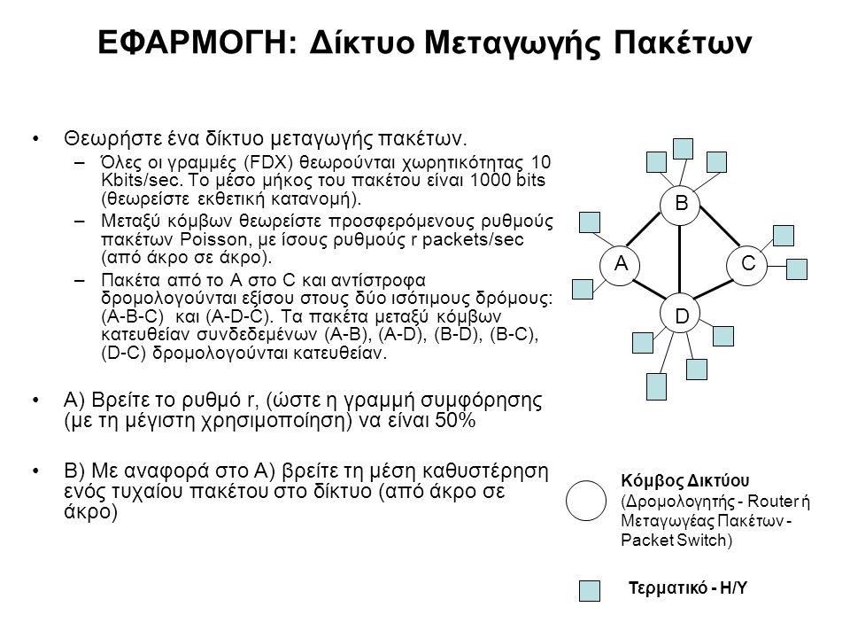 ΕΦΑΡΜΟΓΗ: Δίκτυο Μεταγωγής Πακέτων Θεωρήστε ένα δίκτυο μεταγωγής πακέτων. –Όλες οι γραμμές (FDX) θεωρούνται χωρητικότητας 10 Kbits/sec. Το μέσο μήκος