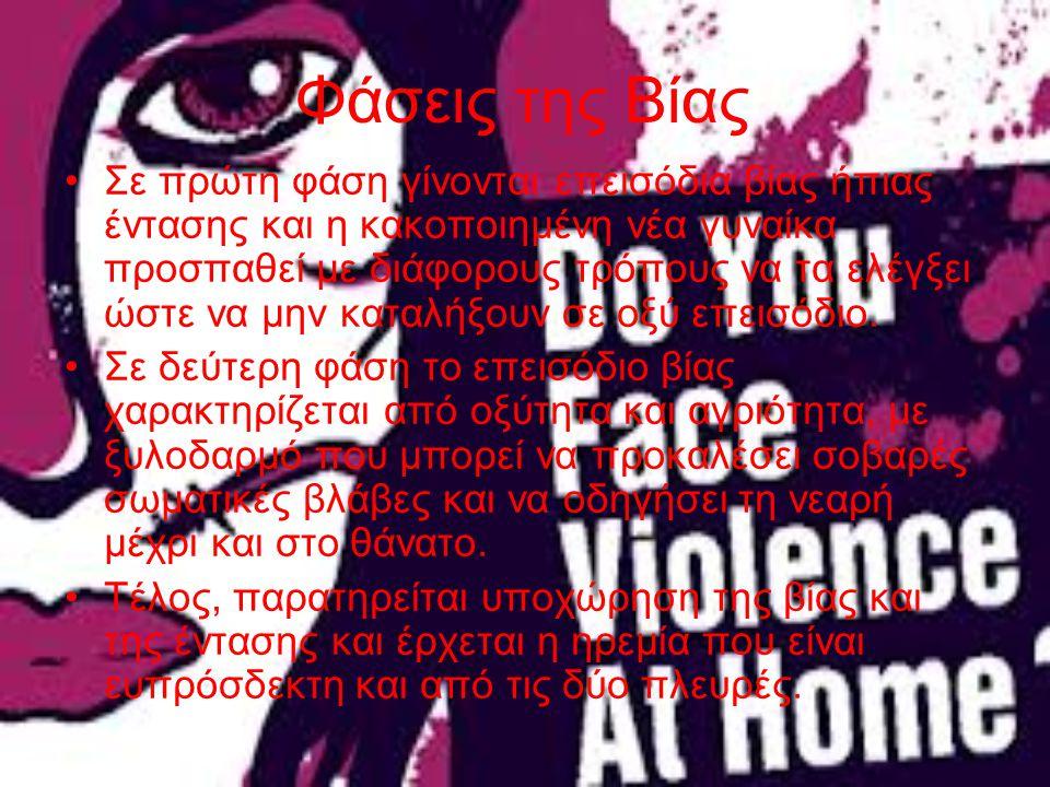 Φάσεις της Βίας Σε πρώτη φάση γίνονται επεισόδια βίας ήπιας έντασης και η κακοποιημένη νέα γυναίκα προσπαθεί με διάφορους τρόπους να τα ελέγξει ώστε ν