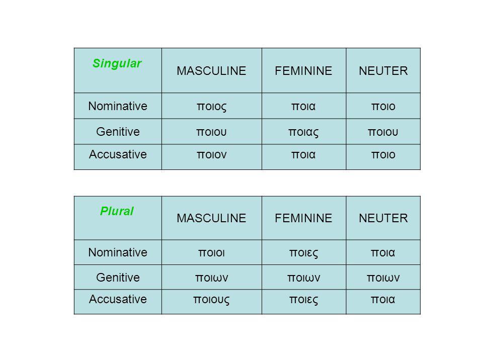 Singular MASCULINEFEMININENEUTER Nominativeποιοςποιαποιο Genitiveποιουποιαςποιου Accusativeποιονποιαποιο Plural MASCULINEFEMININENEUTER Nominativeποιο