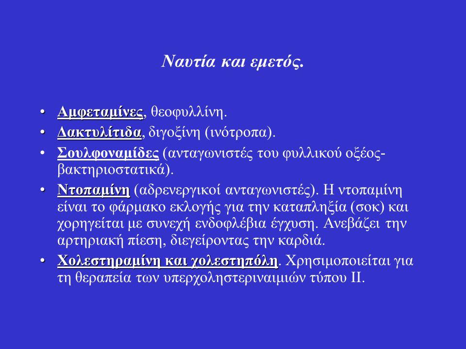 Ναυτία και εμετός. ΑμφεταμίνεςΑμφεταμίνες, θεοφυλλίνη. ΔακτυλίτιδαΔακτυλίτιδα, διγοξίνη (ινότροπα). Σουλφοναμίδες (ανταγωνιστές του φυλλικού οξέος- βα