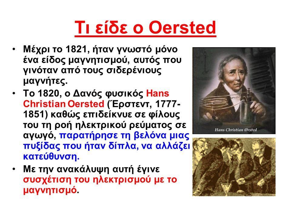 Τι είδε ο Oersted Μέχρι το 1821, ήταν γνωστό μόνο ένα είδος μαγνητισμού, αυτός που γινόταν από τους σιδερένιους μαγνήτες.