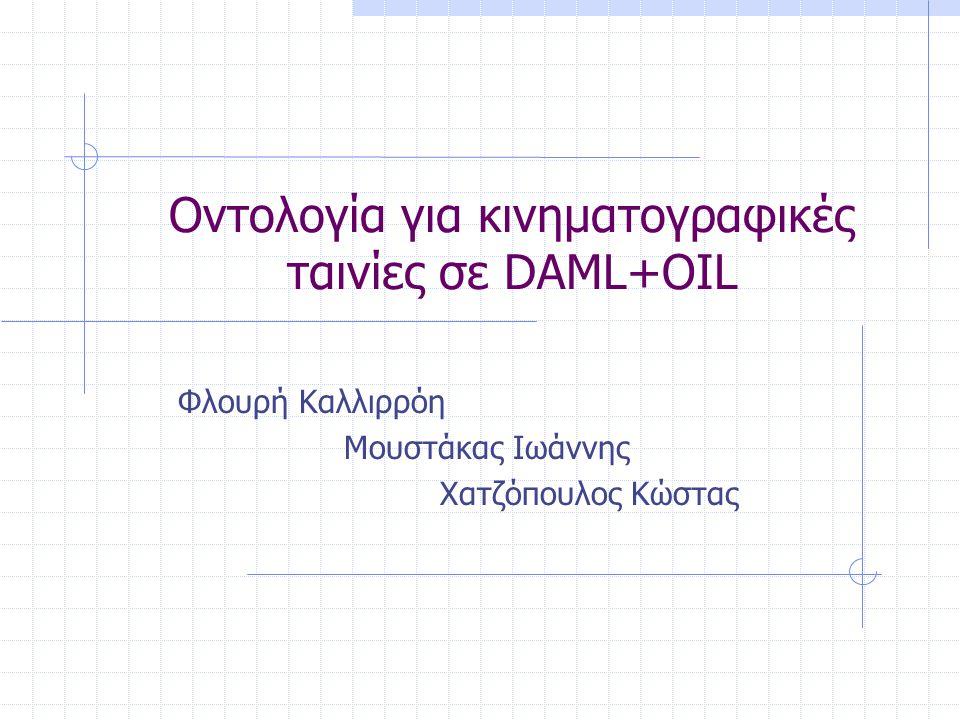 Οντολογία για κινηματογραφικές ταινίες σε DAML+OIL Φλουρή Καλλιρρόη Μουστάκας Ιωάννης Χατζόπουλος Κώστας