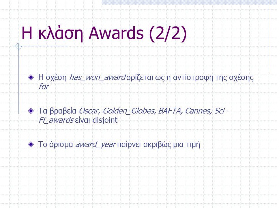 Η κλάση Awards (2/2) Η σχέση has_won_award ορίζεται ως η αντίστροφη της σχέσης for Τα βραβεία Oscar, Golden_Globes, BAFTA, Cannes, Sci- Fi_awards είναι disjoint Το όρισμα award_year παίρνει ακριβώς μια τιμή
