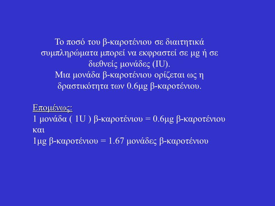 Το ποσό του β-καροτένιου σε διαιτητικά συμπληρώματα μπορεί να εκφραστεί σε μg ή σε διεθνείς μονάδες (ΙU).