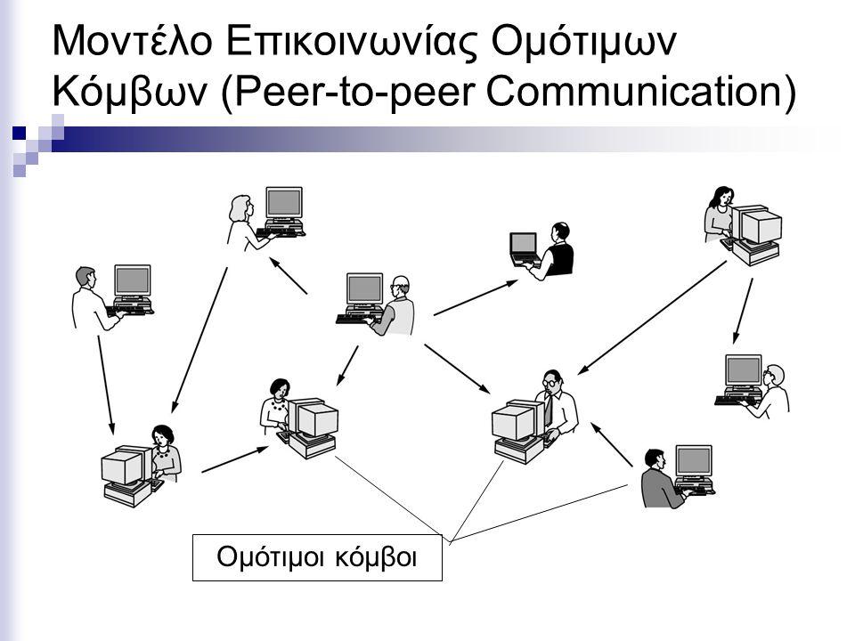 Μοντέλο Επικοινωνίας Ομότιμων Κόμβων (Peer-to-peer Communication) Ομότιμοι κόμβοι