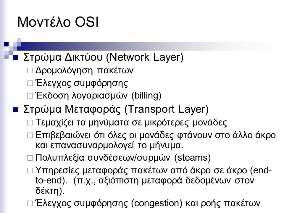Μοντέλο OSI Στρώμα Δικτύου (Network Layer)  Δρομολόγηση πακέτων  Έλεγχος συμφόρησης  Έκδοση λογαριασμών (billing) Στρώμα Μεταφοράς (Transport Layer)  Τεμαχίζει τα μηνύματα σε μικρότερες μονάδες  Επιβεβαιώνει ότι όλες οι μονάδες φτάνουν στο άλλο άκρο και επανασυναρμολογεί το μήνυμα.