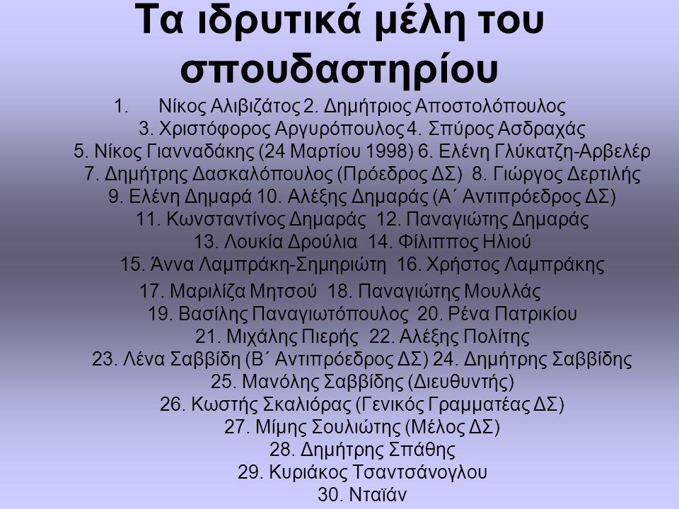 Τα ιδρυτικά μέλη του σπουδαστηρίου 1.Nίκος Aλιβιζάτος 2.