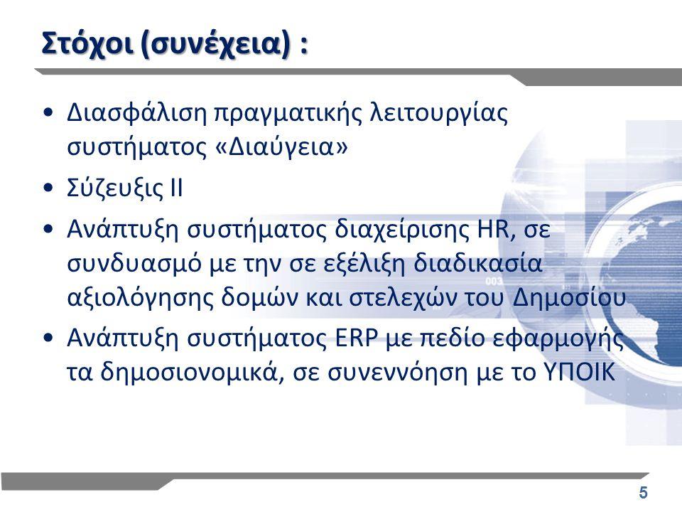 5 Στόχοι (συνέχεια) : Διασφάλιση πραγματικής λειτουργίας συστήματος «Διαύγεια» Σύζευξις ΙΙ Ανάπτυξη συστήματος διαχείρισης HR, σε συνδυασμό με την σε