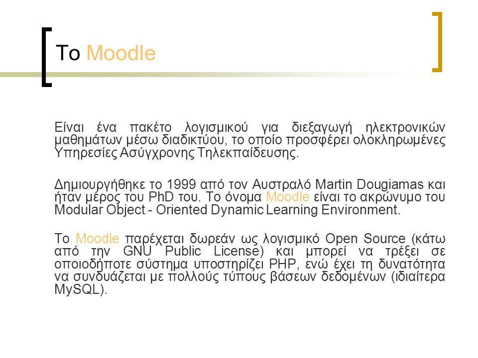 Το Moodle Είναι ένα πακέτο λογισμικού για διεξαγωγή ηλεκτρονικών μαθημάτων μέσω διαδικτύου, το οποίο προσφέρει ολοκληρωμένες Υπηρεσίες Ασύγχρονης Τηλε