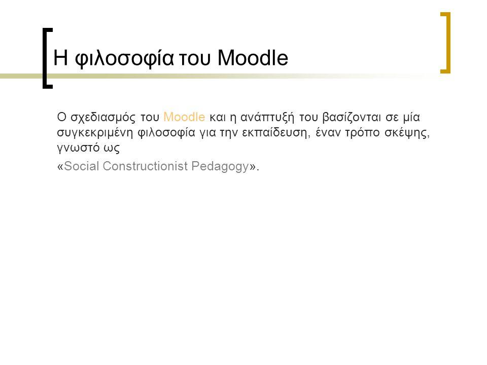 Η φιλοσοφία του Moodle Ο σχεδιασμός του Moodle και η ανάπτυξή του βασίζονται σε μία συγκεκριμένη φιλοσοφία για την εκπαίδευση, έναν τρόπο σκέψης, γνωσ
