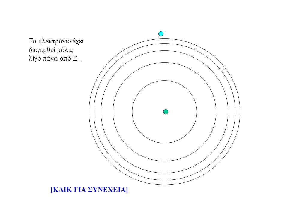 Το ηλεκτρόνιο έχει διεγερθεί μόλις λίγο πάνω από   [ΚΛΙΚ ΓΙΑ ΣΥΝΕΧΕΙΑ]
