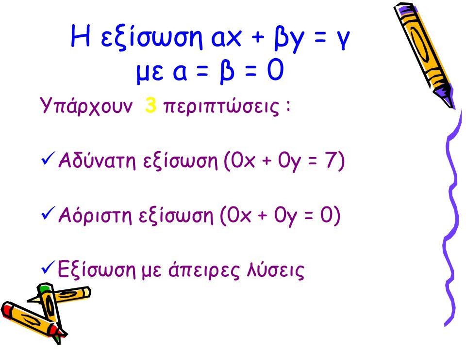 Οι παραπάνω εξισώσεις αποτελούν τις γραμμικές εξισώσεις.