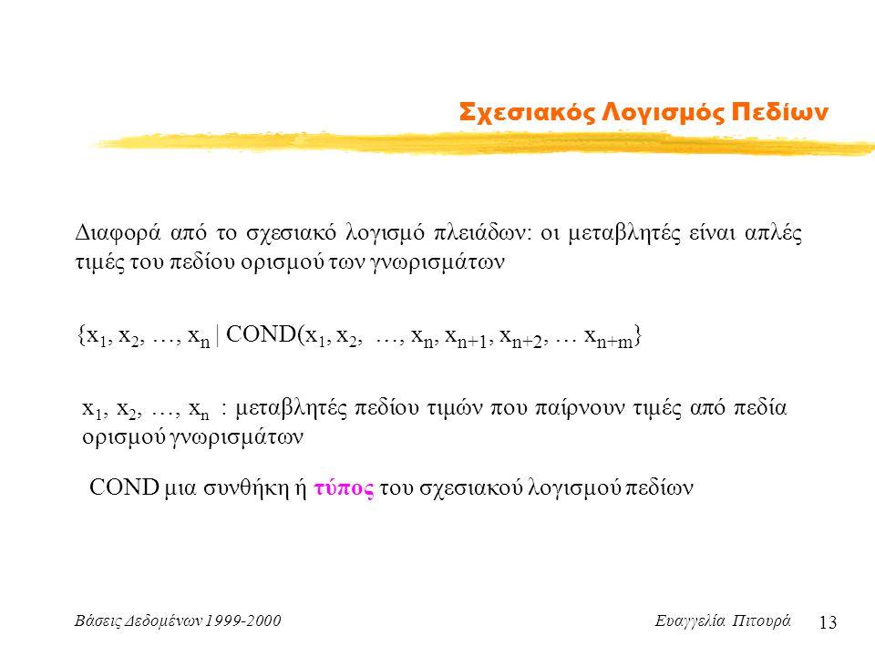 Βάσεις Δεδομένων 1999-2000 Ευαγγελία Πιτουρά 13 Σχεσιακός Λογισμός Πεδίων Διαφορά από το σχεσιακό λογισμό πλειάδων: οι μεταβλητές είναι απλές τιμές του πεδίου ορισμού των γνωρισμάτων {x 1, x 2, …, x n | COND(x 1, x 2, …, x n, x n+1, x n+2, … x n+m } x 1, x 2, …, x n : μεταβλητές πεδίου τιμών που παίρνουν τιμές από πεδία ορισμού γνωρισμάτων COND μια συνθήκη ή τύπος του σχεσιακού λογισμού πεδίων