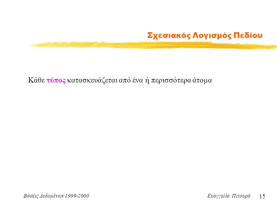 Βάσεις Δεδομένων 1999-2000 Ευαγγελία Πιτουρά 15 Σχεσιακός Λογισμός Πεδίου Κάθε τύπος κατασκευάζεται από ένα ή περισσότερα άτομα
