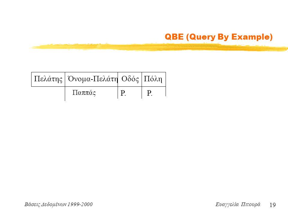 Βάσεις Δεδομένων 1999-2000 Ευαγγελία Πιτουρά 19 QBE (Query By Example) Πελάτης Όνομα-Πελάτη Οδός Πόλη Παππάς P.