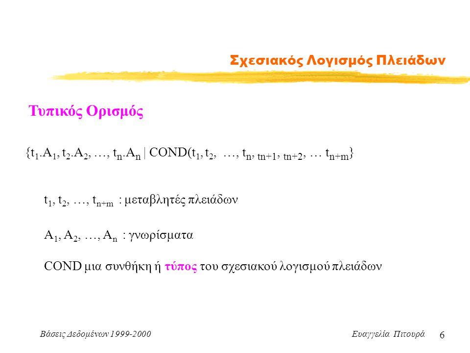 Βάσεις Δεδομένων 1999-2000 Ευαγγελία Πιτουρά 6 Σχεσιακός Λογισμός Πλειάδων Τυπικός Ορισμός {t 1.A 1, t 2.A 2, …, t n.A n | COND(t 1, t 2, …, t n, tn+1, tn+2, … t n+m } t 1, t 2, …, t n+m : μεταβλητές πλειάδων Α 1, Α 2, …, Α n : γνωρίσματα COND μια συνθήκη ή τύπος του σχεσιακού λογισμού πλειάδων