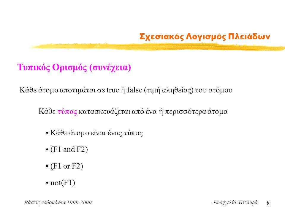 Βάσεις Δεδομένων 1999-2000 Ευαγγελία Πιτουρά 8 Σχεσιακός Λογισμός Πλειάδων Τυπικός Ορισμός (συνέχεια) Κάθε άτομο αποτιμάται σε true ή false (τιμή αληθείας) του ατόμου Κάθε τύπος κατασκευάζεται από ένα ή περισσότερα άτομα Κάθε άτομο είναι ένας τύπος (F1 or F2) (F1 and F2) not(F1)