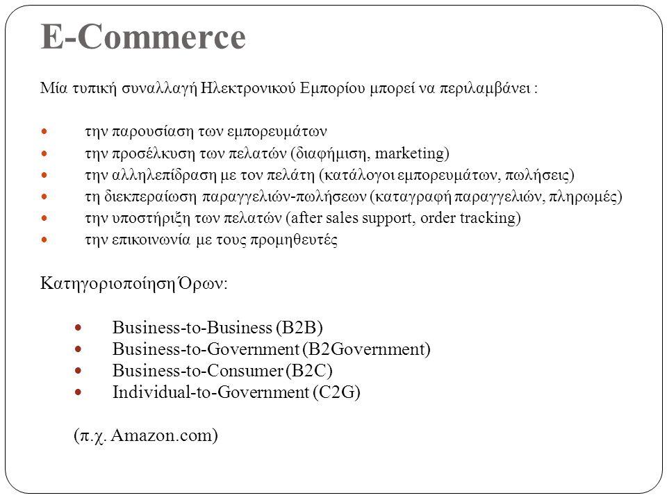 E-Commerce Μία τυπική συναλλαγή Ηλεκτρονικού Εμπορίου μπορεί να περιλαμβάνει : την παρουσίαση των εμπορευμάτων την προσέλκυση των πελατών (διαφήμιση, marketing) την αλληλεπίδραση με τον πελάτη (κατάλογοι εμπορευμάτων, πωλήσεις) τη διεκπεραίωση παραγγελιών-πωλήσεων (καταγραφή παραγγελιών, πληρωμές) την υποστήριξη των πελατών (after sales support, order tracking) την επικοινωνία με τους προμηθευτές Κατηγοριοποίηση Όρων: Business-to-Business (B2B) Business-to-Government (B2Government) Business-to-Consumer (B2C) Individual-to-Government (C2G) (π.χ.
