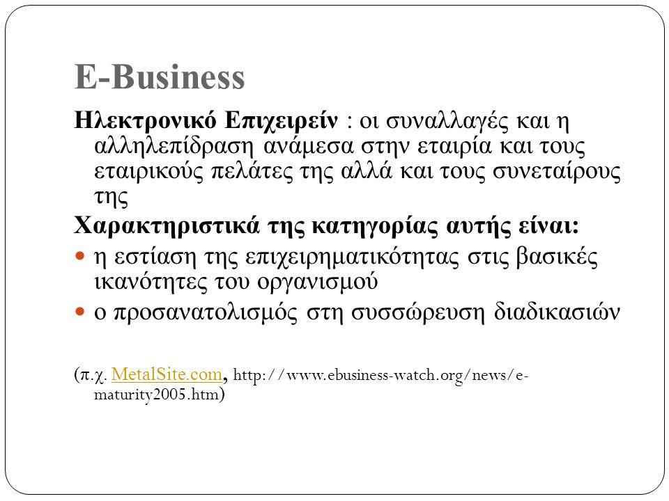 E-Business Ηλεκτρονικό Επιχειρείν : οι συναλλαγές και η αλληλεπίδραση ανάμεσα στην εταιρία και τους εταιρικούς πελάτες της αλλά και τους συνεταίρους της Χαρακτηριστικά της κατηγορίας αυτής είναι: η εστίαση της επιχειρηματικότητας στις βασικές ικανότητες του οργανισμού ο προσανατολισμός στη συσσώρευση διαδικασιών (π.χ.