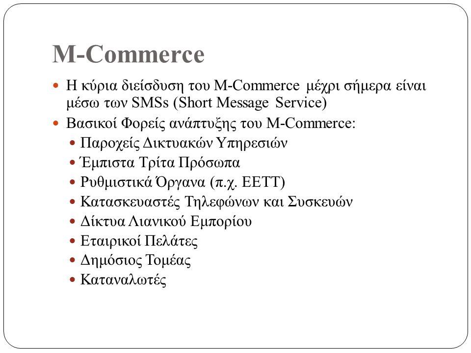 M-Commerce Η κύρια διείσδυση του M-Commerce μέχρι σήμερα είναι μέσω των SMSs (Short Message Service) Βασικοί Φορείς ανάπτυξης του M-Commerce: Παροχείς Δικτυακών Υπηρεσιών Έμπιστα Τρίτα Πρόσωπα Ρυθμιστικά Όργανα (π.χ.