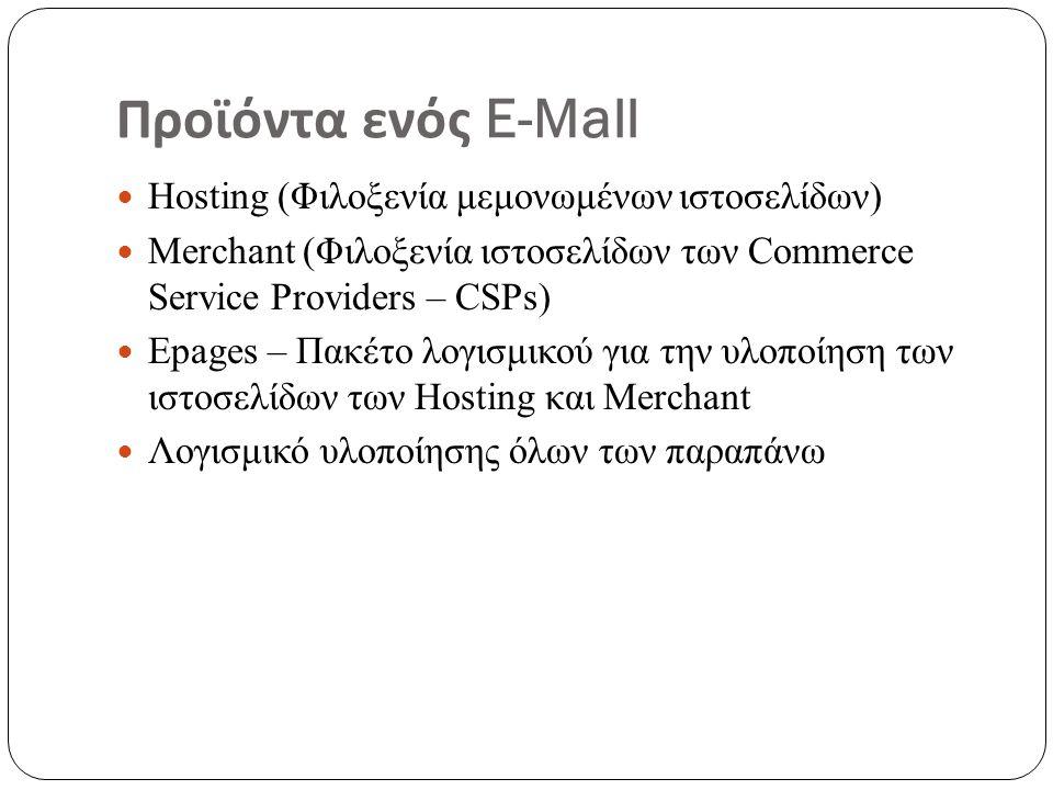 Προϊόντα ενός E-Mall Hosting (Φιλοξενία μεμονωμένων ιστοσελίδων) Merchant (Φιλοξενία ιστοσελίδων των Commerce Service Providers – CSPs) Epages – Πακέτο λογισμικού για την υλοποίηση των ιστοσελίδων των Hosting και Merchant Λογισμικό υλοποίησης όλων των παραπάνω