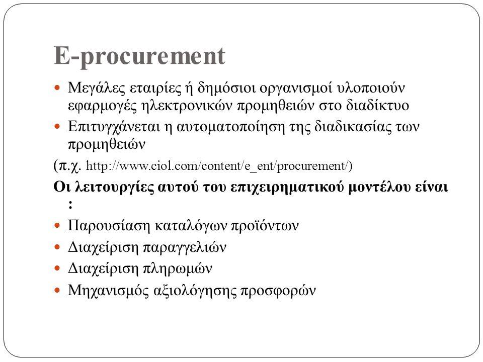 E-procurement Μεγάλες εταιρίες ή δημόσιοι οργανισμοί υλοποιούν εφαρμογές ηλεκτρονικών προμηθειών στο διαδίκτυο Επιτυγχάνεται η αυτοματοποίηση της διαδικασίας των προμηθειών (π.χ.