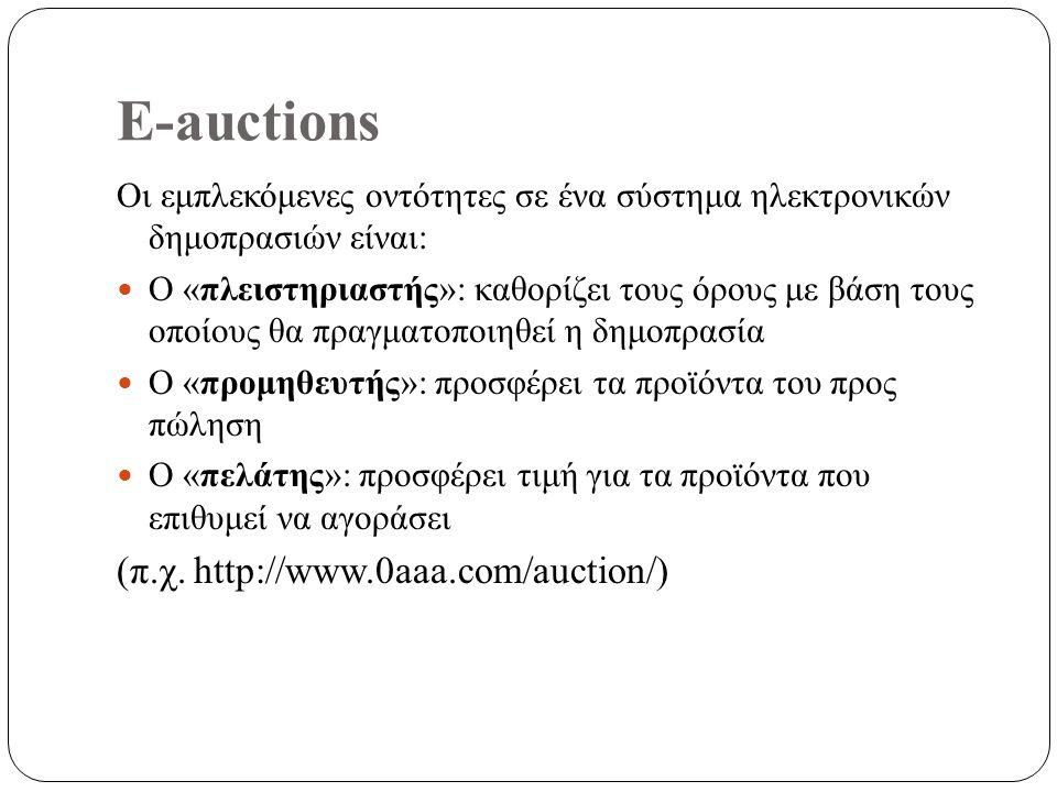 E-auctions Οι εμπλεκόμενες οντότητες σε ένα σύστημα ηλεκτρονικών δημοπρασιών είναι: Ο «πλειστηριαστής»: καθορίζει τους όρους με βάση τους οποίους θα πραγματοποιηθεί η δημοπρασία Ο «προμηθευτής»: προσφέρει τα προϊόντα του προς πώληση Ο «πελάτης»: προσφέρει τιμή για τα προϊόντα που επιθυμεί να αγοράσει (π.χ.