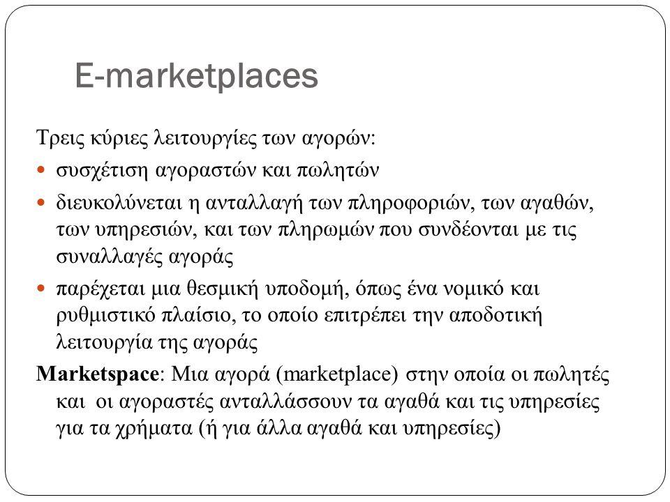 E-marketplaces Τρεις κύριες λειτουργίες των αγορών: συσχέτιση αγοραστών και πωλητών διευκολύνεται η ανταλλαγή των πληροφοριών, των αγαθών, των υπηρεσιών, και των πληρωμών που συνδέονται με τις συναλλαγές αγοράς παρέχεται μια θεσμική υποδομή, όπως ένα νομικό και ρυθμιστικό πλαίσιο, το οποίο επιτρέπει την αποδοτική λειτουργία της αγοράς Marketspace: Μια αγορά (marketplace) στην οποία οι πωλητές και οι αγοραστές ανταλλάσσουν τα αγαθά και τις υπηρεσίες για τα χρήματα (ή για άλλα αγαθά και υπηρεσίες)