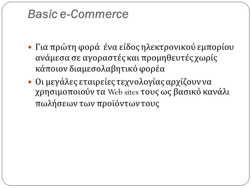 Basic e-Commerce Για πρώτη φορά ένα είδος ηλεκτρονικού εμπορίου ανάμεσα σε αγοραστές και προμηθευτές χωρίς κάποιον διαμεσολαβητικό φορέα Οι μεγάλες εταιρείες τεχνολογίας αρχίζουν να χρησιμοποιούν τα Web sites τους ως βασικό κανάλι πωλήσεων των προϊόντων τους