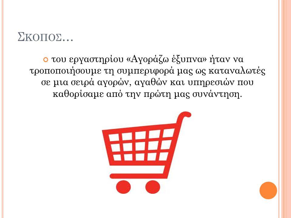 Σ ΚΟΠΟΣ … του εργαστηρίου «Αγοράζω έξυπνα» ήταν να τροποποιήσουμε τη συμπεριφορά μας ως καταναλωτές σε μια σειρά αγορών, αγαθών και υπηρεσιών που καθορίσαμε από την πρώτη μας συνάντηση.